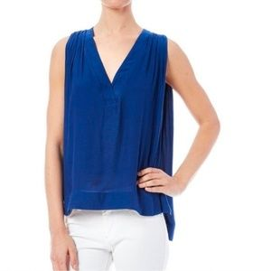 Free People Darcy Royal Blue Pleated Blouse